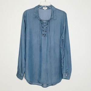 Crown & Ivy Lace Up Chambray Tunic Top Shir